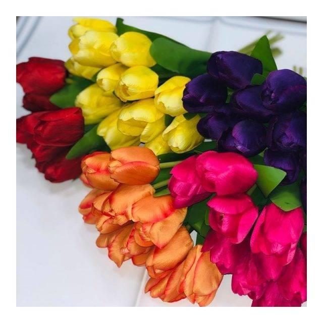 Bukiet sztucznych tulipanów różowych 12 szt / sztuczne tulipany